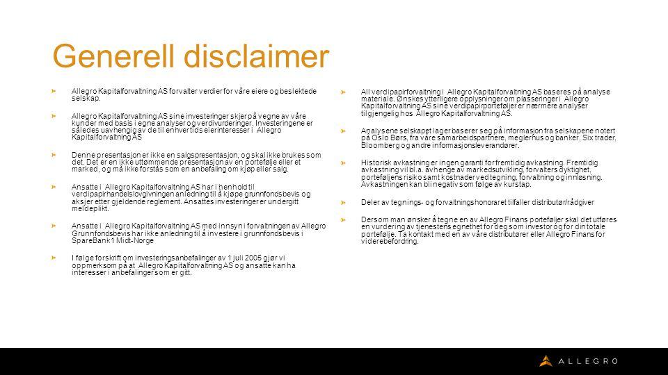 Generell disclaimer Allegro Kapitalforvaltning AS forvalter verdier for våre eiere og beslektede selskap.
