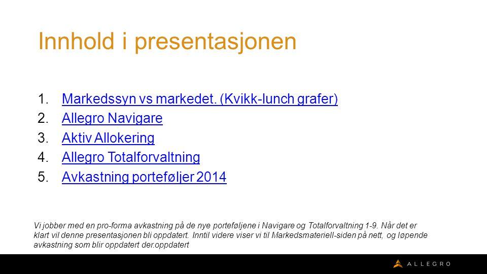 Innhold i presentasjonen 1.Markedssyn vs markedet.