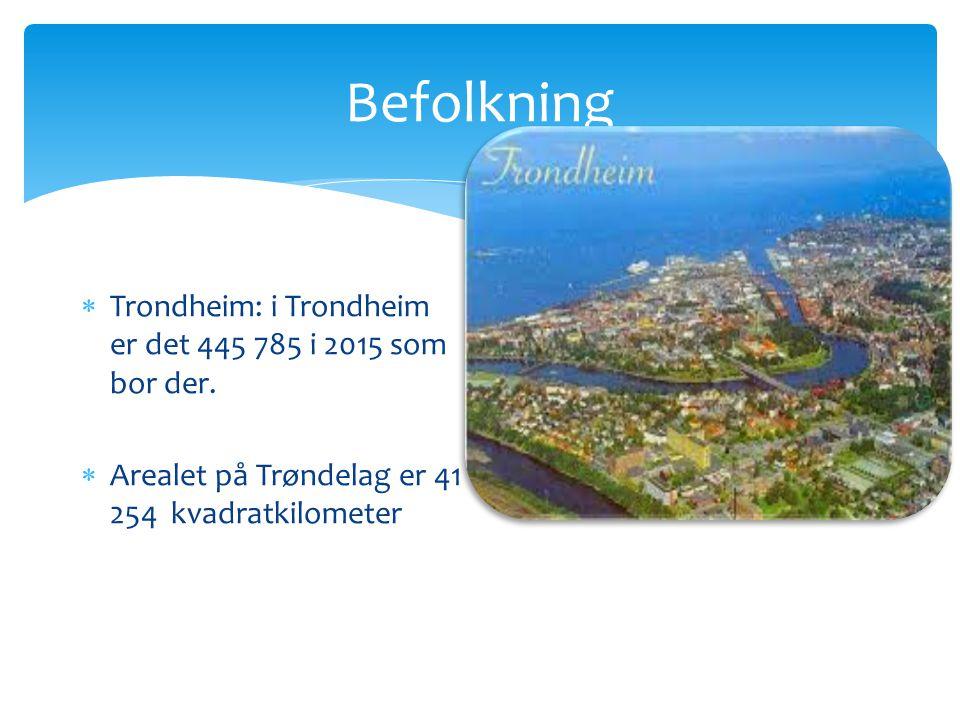Befolkning  Trondheim: i Trondheim er det 445 785 i 2015 som bor der.