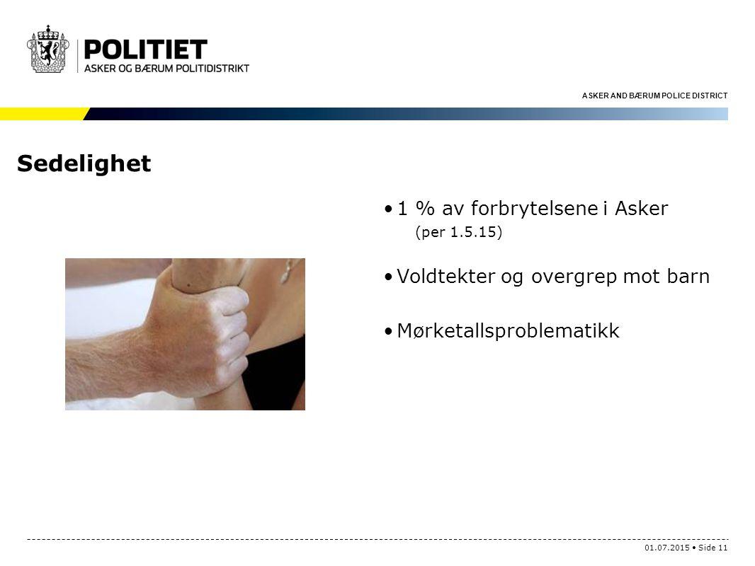 ASKER AND BÆRUM POLICE DISTRICT Sedelighet 1 % av forbrytelsene i Asker (per 1.5.15) Voldtekter og overgrep mot barn Mørketallsproblematikk 01.07.2015 Side 11