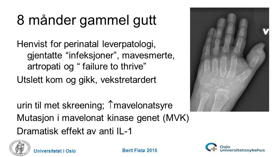 """Universitetet I Oslo Berit Flatø 2015 8 månder gammel gutt Henvist for perinatal leverpatologi, gjentatte """"infeksjoner"""", mavesmerte, artropati og """" fa"""