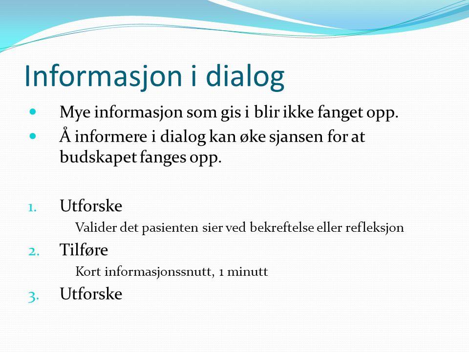 Informasjon i dialog Mye informasjon som gis i blir ikke fanget opp. Å informere i dialog kan øke sjansen for at budskapet fanges opp. 1. Utforske Val
