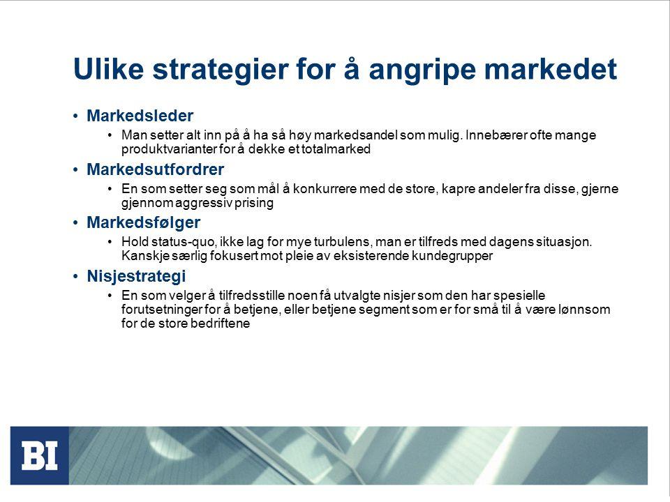 Ulike strategier for å angripe markedet Markedsleder Man setter alt inn på å ha så høy markedsandel som mulig.