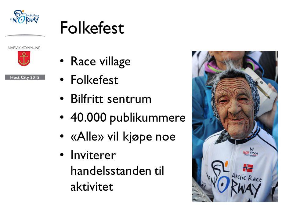 Folkefest Race village Folkefest Bilfritt sentrum 40.000 publikummere «Alle» vil kjøpe noe Inviterer handelsstanden til aktivitet