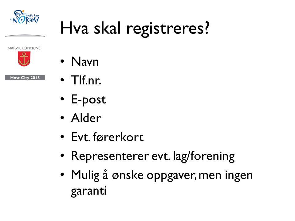 Hva skal registreres.Navn Tlf.nr. E-post Alder Evt.