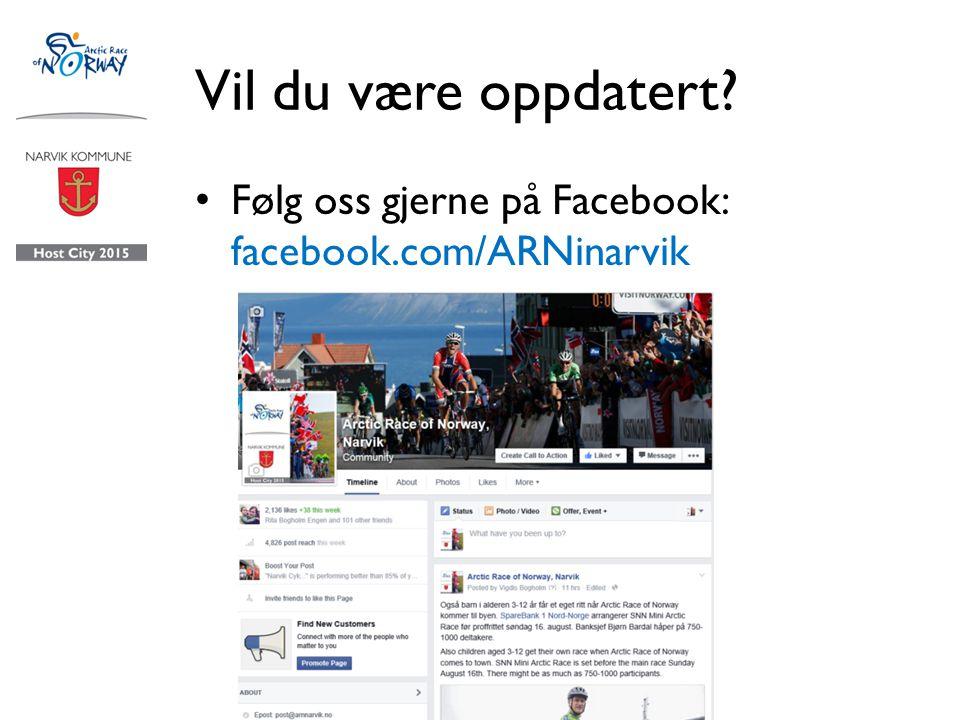 Vil du være oppdatert Følg oss gjerne på Facebook: facebook.com/ARNinarvik