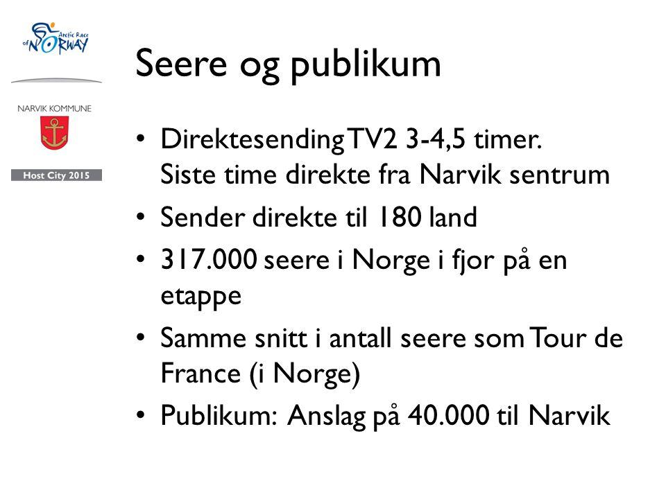 Seere og publikum Direktesending TV2 3-4,5 timer.