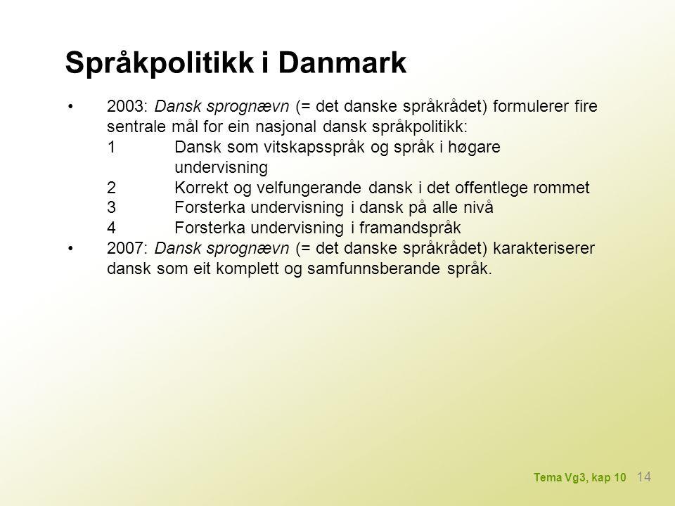 Språkpolitikk i Danmark 2003: Dansk sprognævn (= det danske språkrådet) formulerer fire sentrale mål for ein nasjonal dansk språkpolitikk: 1Dansk som