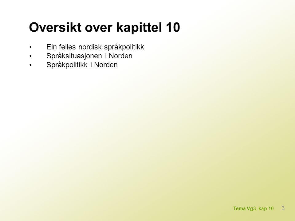 Oversikt over kapittel 10 Ein felles nordisk språkpolitikk Språksituasjonen i Norden Språkpolitikk i Norden 3 Tema Vg3, kap 10