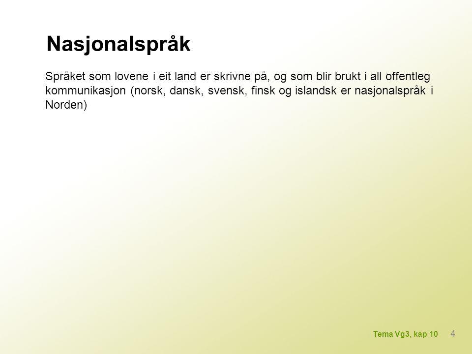 Hovudspråk Språk som blir brukt som administrasjons-, undervisnings- og kyrkjespråk, men som ikkje har status som nasjonalspråk (grønlandsk og færøysk er hovudspråk på Grønland og på Færøyane) 5 Tema Vg3, kap 10
