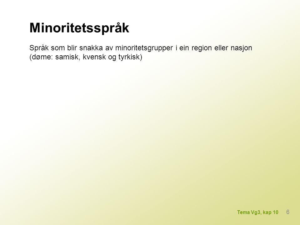 Minoritetsspråk Språk som blir snakka av minoritetsgrupper i ein region eller nasjon (døme: samisk, kvensk og tyrkisk) 6 Tema Vg3, kap 10
