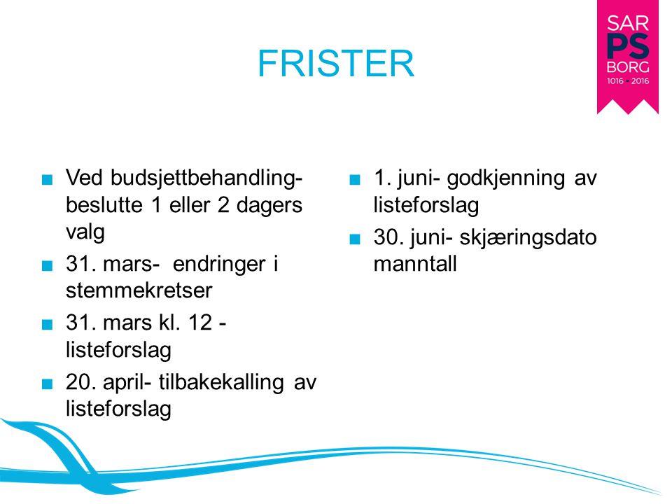 FRISTER ■ Ved budsjettbehandling- beslutte 1 eller 2 dagers valg ■ 31. mars- endringer i stemmekretser ■ 31. mars kl. 12 - listeforslag ■ 20. april- t