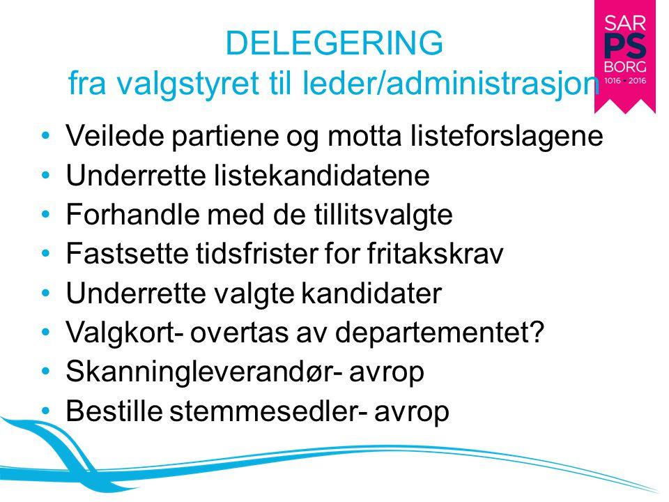 DELEGERING fra valgstyret til leder/administrasjon Veilede partiene og motta listeforslagene Underrette listekandidatene Forhandle med de tillitsvalgt