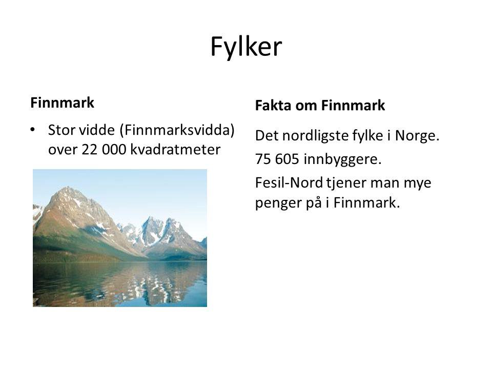 Fylker Finnmark Stor vidde (Finnmarksvidda) over 22 000 kvadratmeter Fakta om Finnmark Det nordligste fylke i Norge. 75 605 innbyggere. Fesil-Nord tje