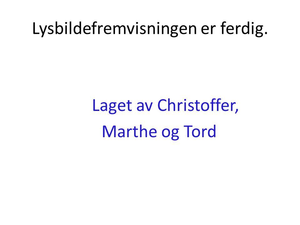 Lysbildefremvisningen er ferdig. Laget av Christoffer, Marthe og Tord