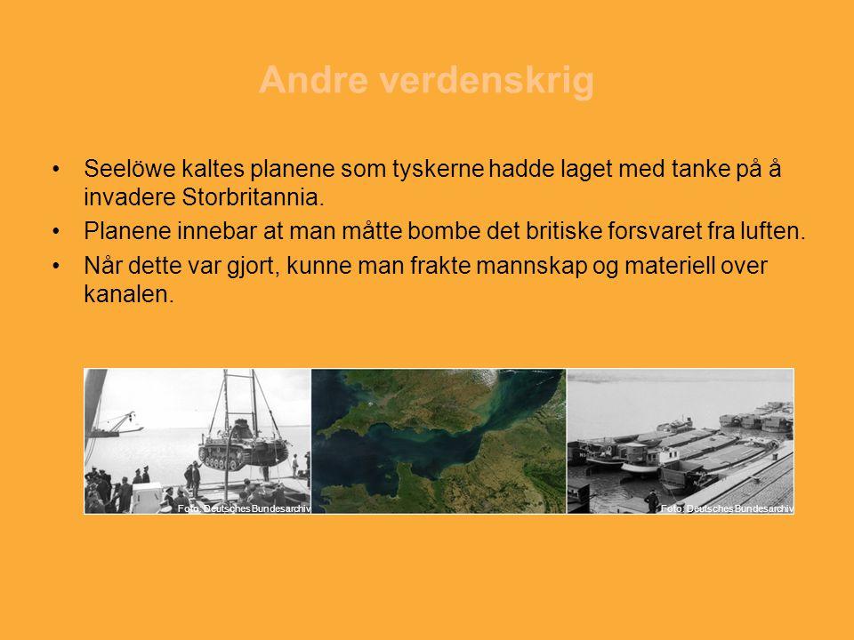 Andre verdenskrig Seelöwe kaltes planene som tyskerne hadde laget med tanke på å invadere Storbritannia. Planene innebar at man måtte bombe det britis