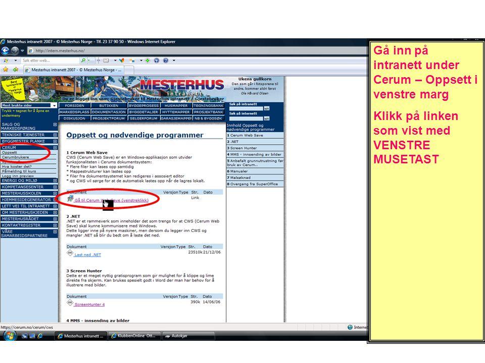 Klikk på linken CwsSetup for å laste ned programfilen
