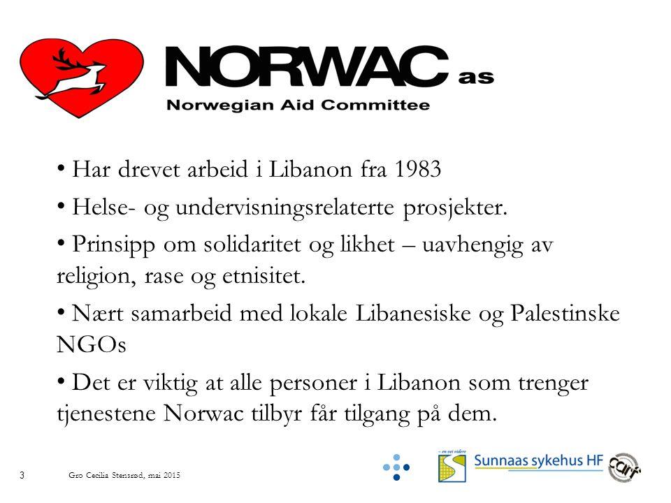 3 Har drevet arbeid i Libanon fra 1983 Helse- og undervisningsrelaterte prosjekter.