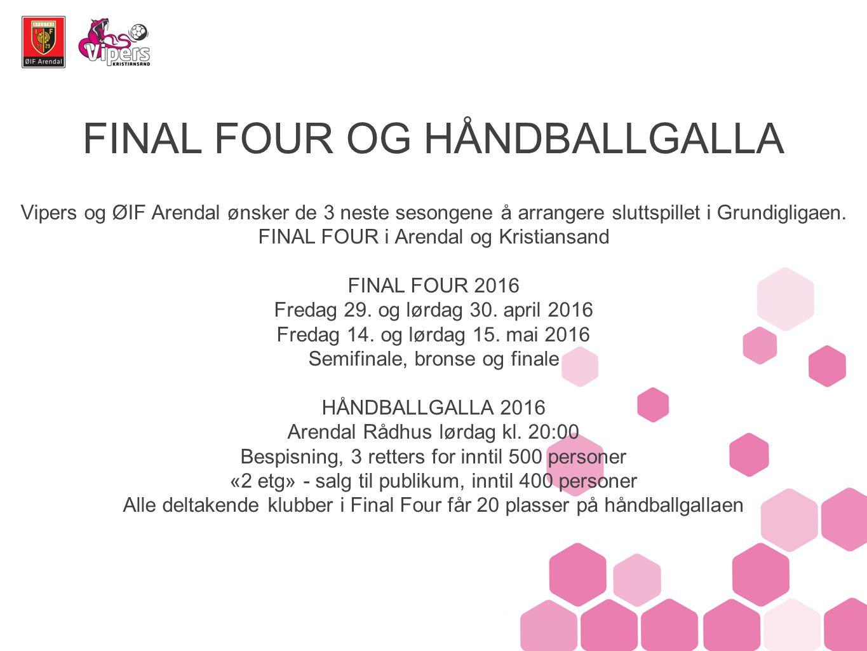 FINAL FOUR OG HÅNDBALLGALLA Vipers og ØIF Arendal ønsker de 3 neste sesongene å arrangere sluttspillet i Grundigligaen.