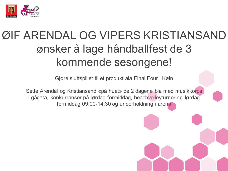 ØIF ARENDAL OG VIPERS KRISTIANSAND ønsker å lage håndballfest de 3 kommende sesongene.
