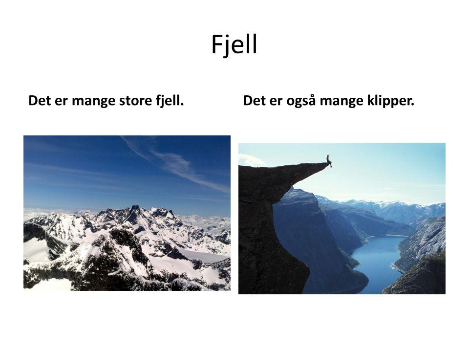 Fjell Det er mange store fjell.Det er også mange klipper.
