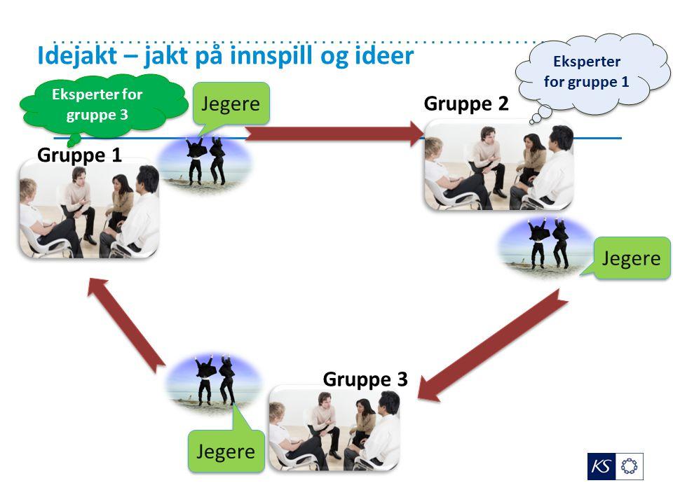 Idejakt – jakt på innspill og ideer Jegere Eksperter for gruppe 1 Gruppe 1 Gruppe 3 Gruppe 2 Eksperter for gruppe 3