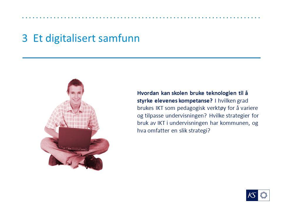 3 Et digitalisert samfunn Hvordan kan skolen bruke teknologien til å styrke elevenes kompetanse? I hvilken grad brukes IKT som pedagogisk verktøy for