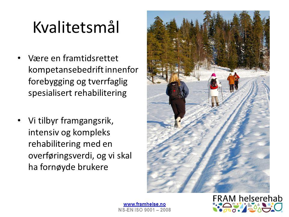 På Fram møter bruker 3 tverrfaglige team Ca 62 ansatte, ca 49 årsverk 9 ulike faggrupper i eller tilknyttet teamene Kultur som gir helse www.framhelse.no NS-EN ISO 9001 – 2008