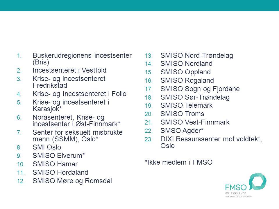1. Buskerudregionens incestsenter (Bris) 2. Incestsenteret i Vestfold 3.