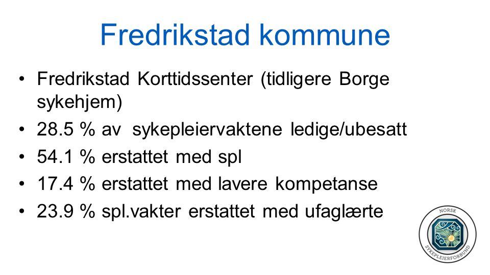 Fredrikstad kommune Fredrikstad Korttidssenter (tidligere Borge sykehjem) 28.5 % av sykepleiervaktene ledige/ubesatt 54.1 % erstattet med spl 17.4 % erstattet med lavere kompetanse 23.9 % spl.vakter erstattet med ufaglærte