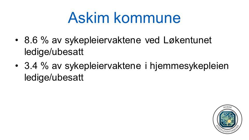 Askim kommune 8.6 % av sykepleiervaktene ved Løkentunet ledige/ubesatt 3.4 % av sykepleiervaktene i hjemmesykepleien ledige/ubesatt