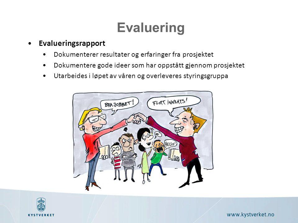 Evaluering Evalueringsrapport Dokumenterer resultater og erfaringer fra prosjektet Dokumentere gode ideer som har oppstått gjennom prosjektet Utarbeid