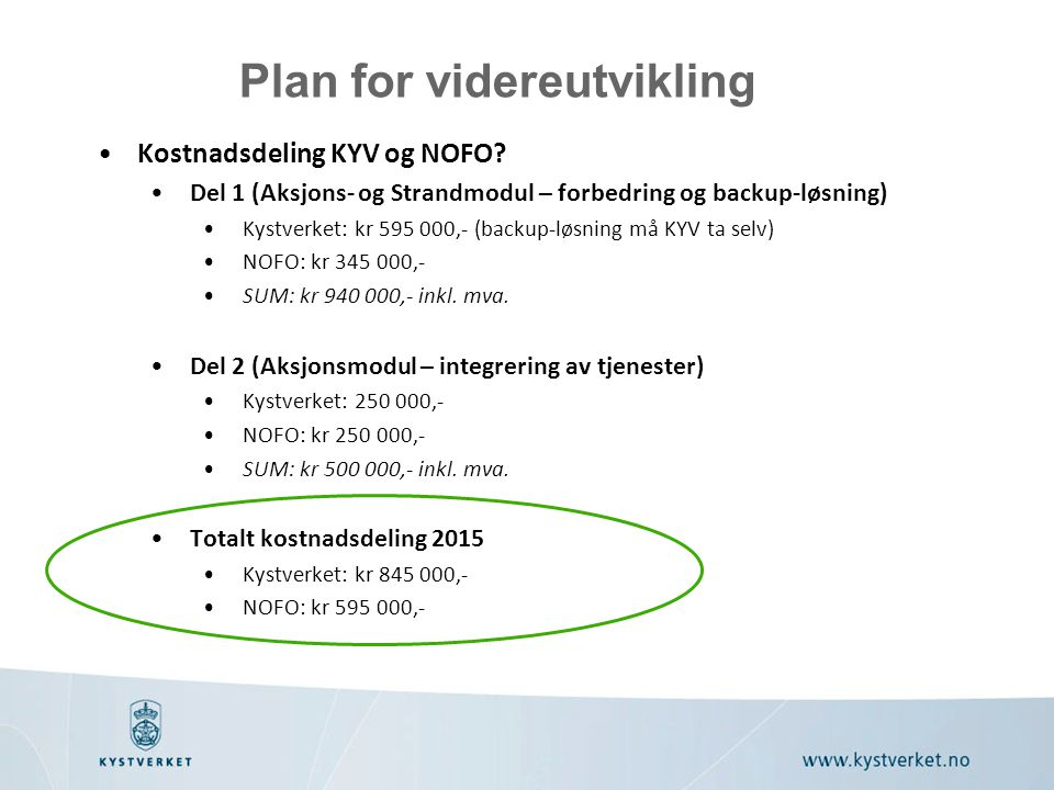 Kostnadsdeling KYV og NOFO? Del 1 (Aksjons- og Strandmodul – forbedring og backup-løsning) Kystverket: kr 595 000,- (backup-løsning må KYV ta selv) NO