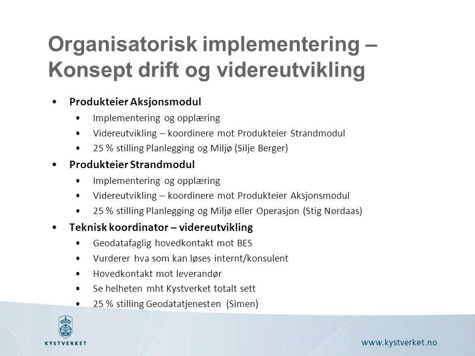 Organisatorisk implementering – Konsept drift og videreutvikling Produkteier Aksjonsmodul Implementering og opplæring Videreutvikling – koordinere mot