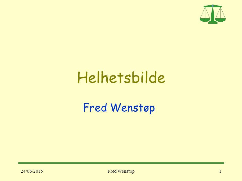 24/06/2015Fred Wenstøp1 Helhetsbilde Fred Wenstøp