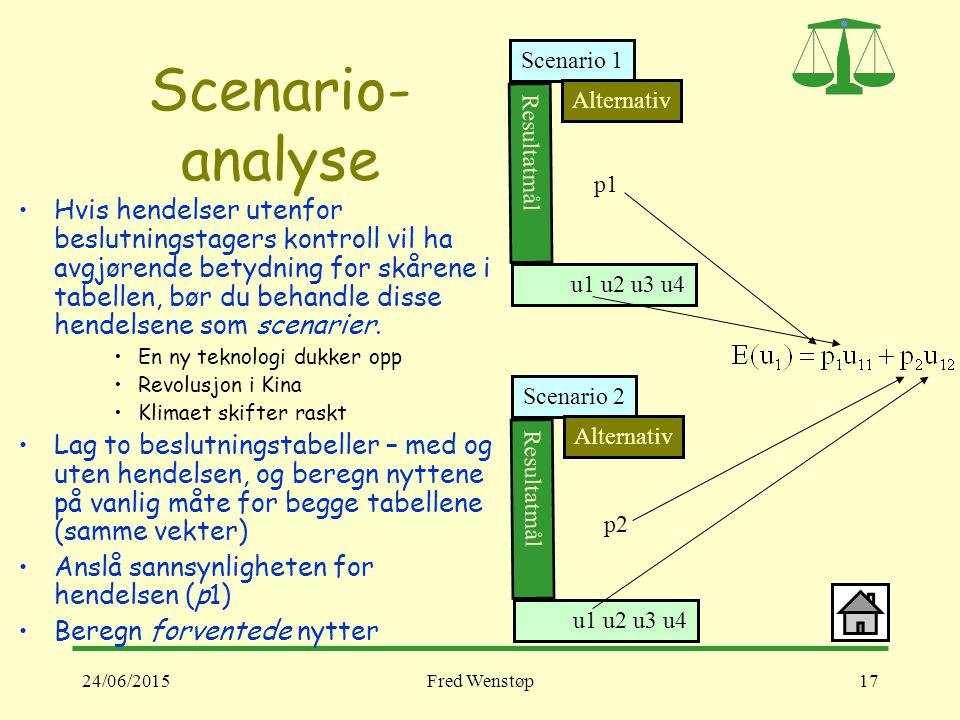 24/06/2015Fred Wenstøp17 Scenario- analyse Hvis hendelser utenfor beslutningstagers kontroll vil ha avgjørende betydning for skårene i tabellen, bør du behandle disse hendelsene som scenarier.