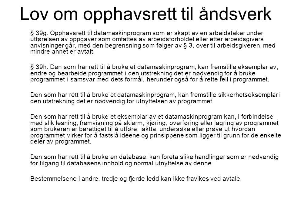 Lov om opphavsrett til åndsverk § 39g. Opphavsrett til datamaskinprogram som er skapt av en arbeidstaker under utførelsen av oppgaver som omfattes av