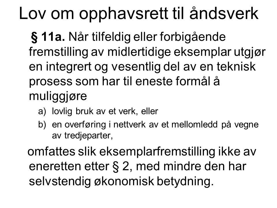 Lov om opphavsrett til åndsverk § 53a.