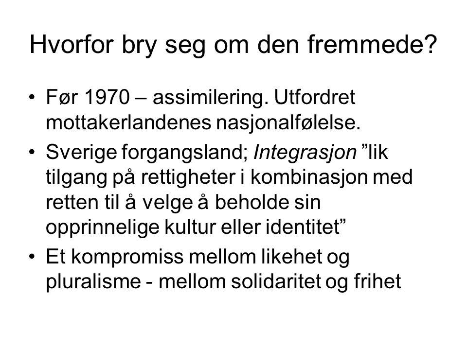 Hvorfor bry seg om den fremmede.Før 1970 – assimilering.