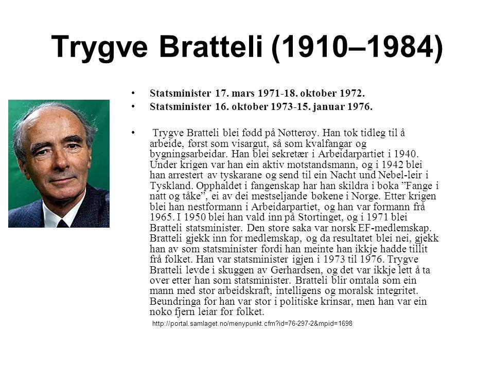 Trygve Bratteli (1910–1984) Statsminister 17.mars 1971-18.