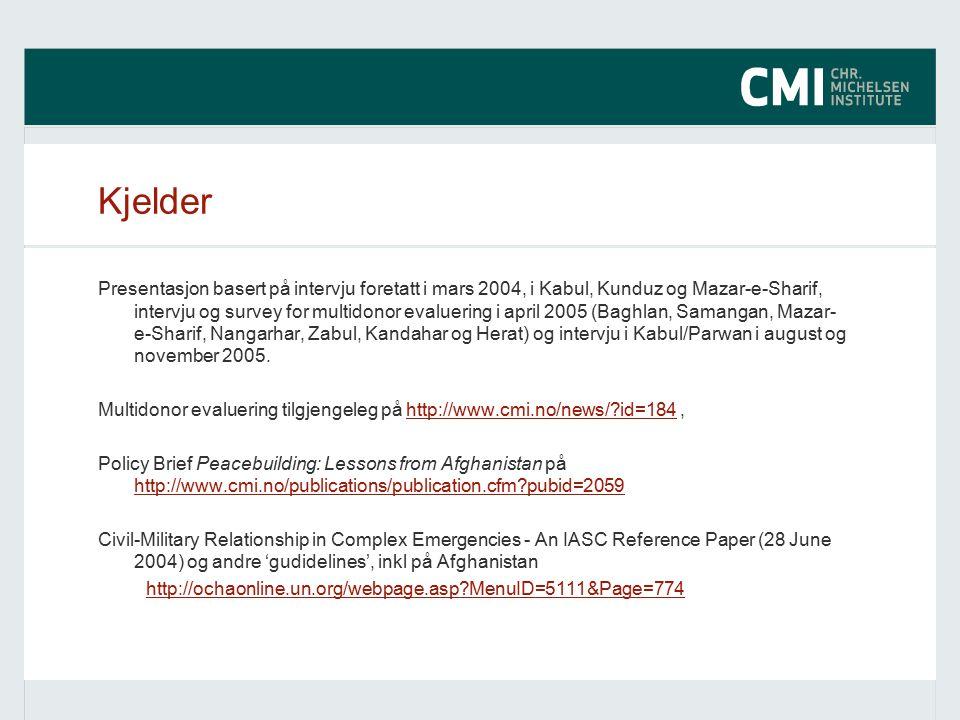Kjelder Presentasjon basert på intervju foretatt i mars 2004, i Kabul, Kunduz og Mazar-e-Sharif, intervju og survey for multidonor evaluering i april 2005 (Baghlan, Samangan, Mazar- e-Sharif, Nangarhar, Zabul, Kandahar og Herat) og intervju i Kabul/Parwan i august og november 2005.