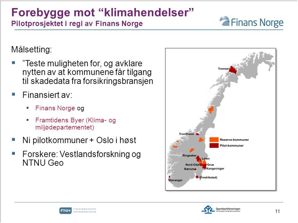 Målsetting:  Teste muligheten for, og avklare nytten av at kommunene får tilgang til skadedata fra forsikringsbransjen  Finansiert av:  Finans Norge og  Framtidens Byer (Klima- og miljødepartementet)  Ni pilotkommuner + Oslo i høst  Forskere: Vestlandsforskning og NTNU Geo Forebygge mot klimahendelser Pilotprosjektet i regi av Finans Norge 11