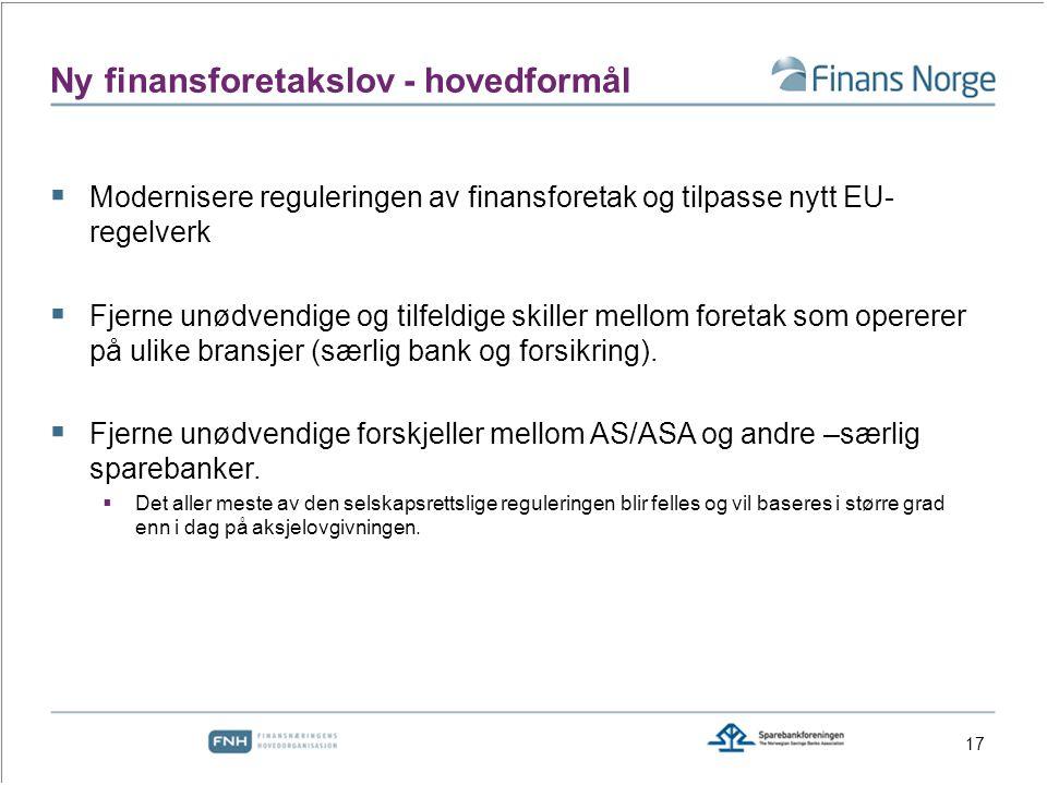 Ny finansforetakslov - hovedformål  Modernisere reguleringen av finansforetak og tilpasse nytt EU- regelverk  Fjerne unødvendige og tilfeldige skiller mellom foretak som opererer på ulike bransjer (særlig bank og forsikring).