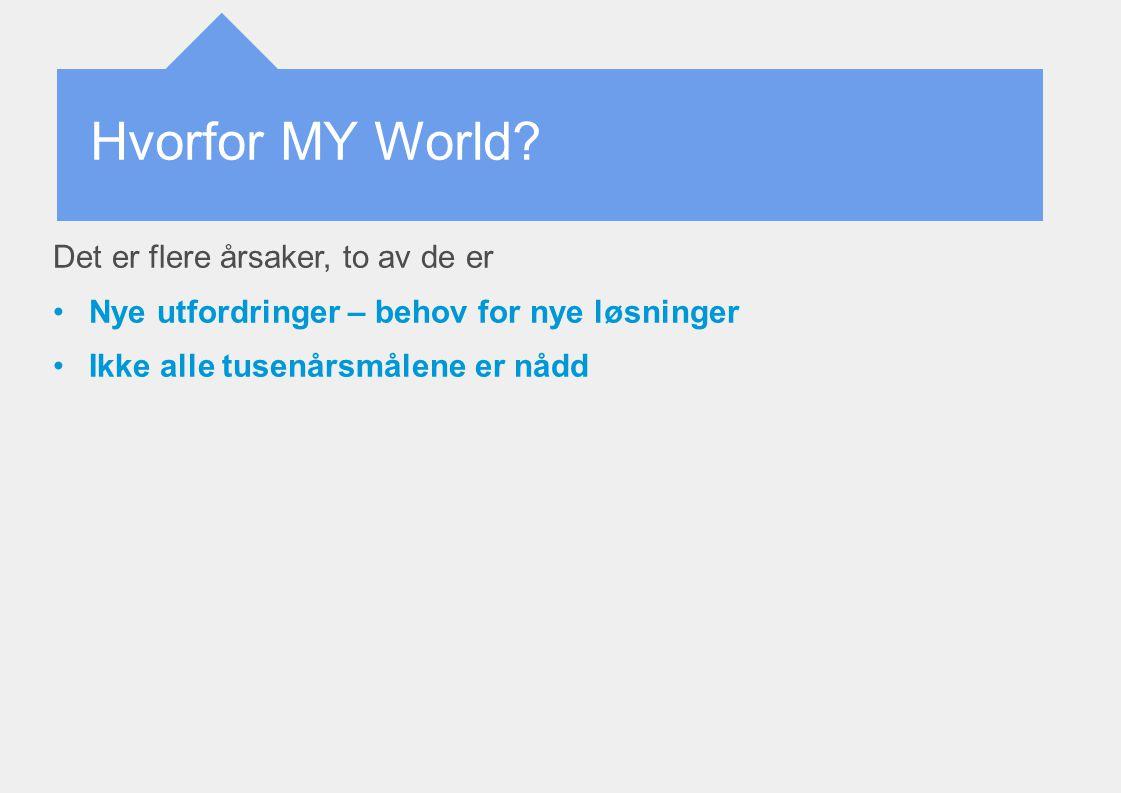Hvorfor MY World? Det er flere årsaker, to av de er Nye utfordringer – behov for nye løsninger Ikke alle tusenårsmålene er nådd