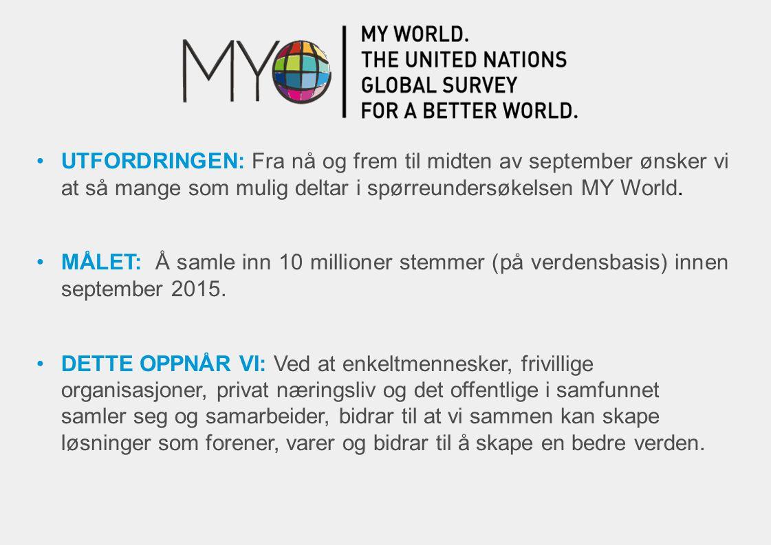 UTFORDRINGEN: Fra nå og frem til midten av september ønsker vi at så mange som mulig deltar i spørreundersøkelsen MY World. MÅLET: Å samle inn 10 mill