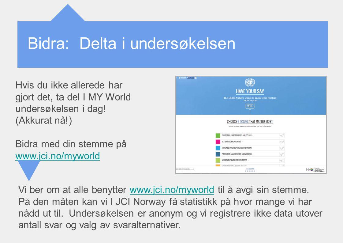 Bidra: Delta i undersøkelsen Hvis du ikke allerede har gjort det, ta del I MY World undersøkelsen i dag! (Akkurat nå!) Bidra med din stemme på www.jci