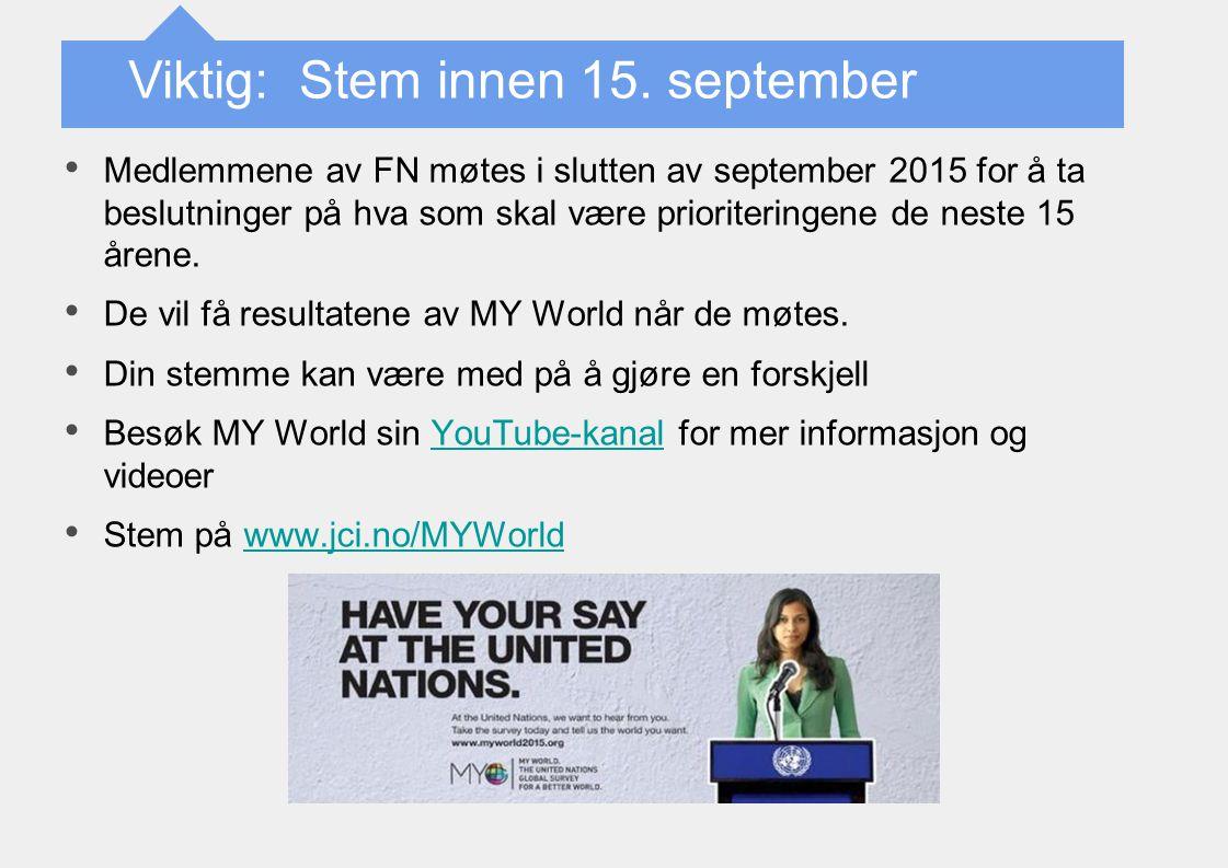 Medlemmene av FN møtes i slutten av september 2015 for å ta beslutninger på hva som skal være prioriteringene de neste 15 årene. De vil få resultatene