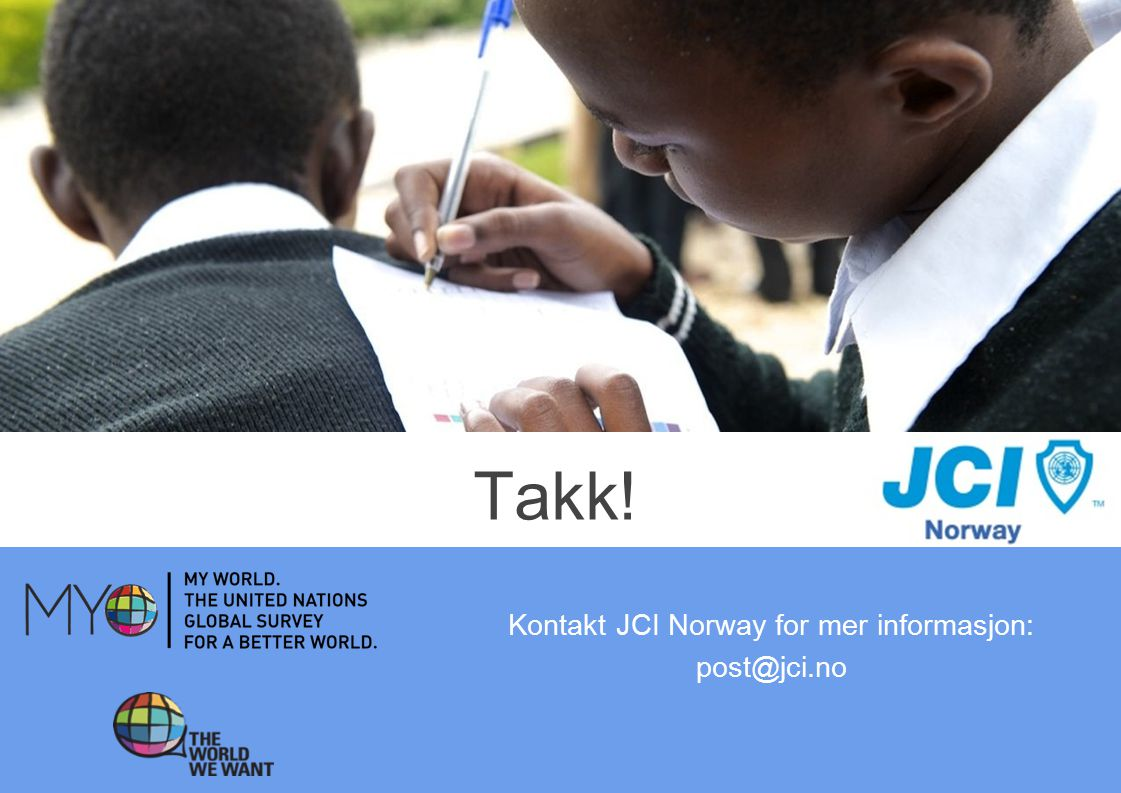 Takk! Kontakt JCI Norway for mer informasjon: post@jci.no