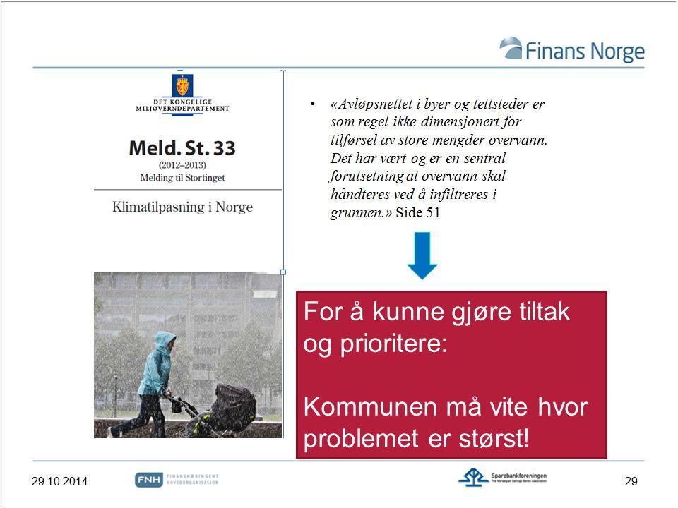 29.10.201429 For å kunne gjøre tiltak og prioritere: Kommunen må vite hvor problemet er størst!