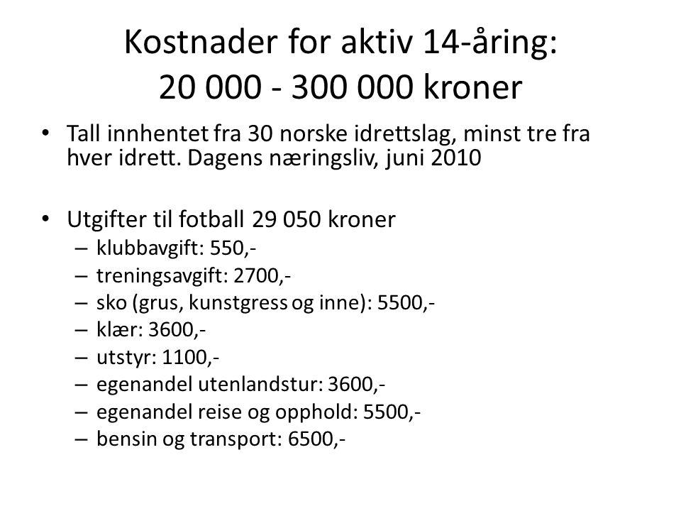 Kostnader for aktiv 14-åring: 20 000 - 300 000 kroner Tall innhentet fra 30 norske idrettslag, minst tre fra hver idrett.